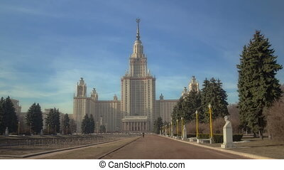 Walk to Lomonosov Moscow State University. Motion timelapse hyperlapse