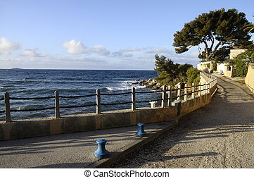 Walk way on the seafront in Bandol in French Riviera, France