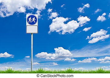 walk way sign against blue sky