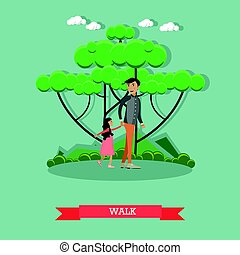 Walk with daughter concept vector illustration in flat style