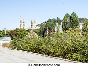 Walk with trees in the Spanish city of Burgos are historical...