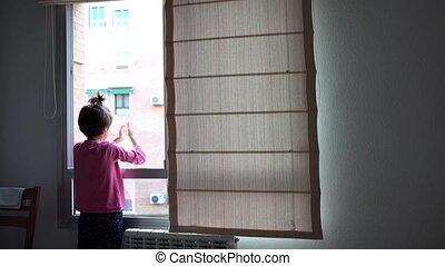 walka, oklaski, okno, dziewczyna, poparcie, ludzie, ...