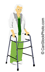 Walker - A Senior using a walker with clipping path