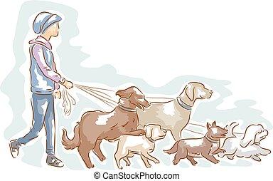 walker, dog, illustratie, man