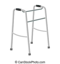 Walker for the disabled.Old age single icon in monochrome...
