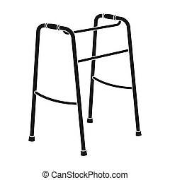 Walker for the disabled.Old age single icon in black style...