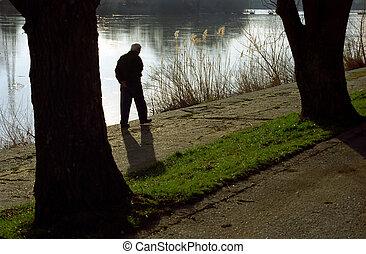 Walker on Mures river border, Arad, Romania