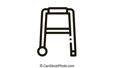 Walker Orthopedic Equipment With Rollers animated black icon on white background