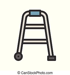 Walker, physical therapy equipment filled outline icon, vector illustration