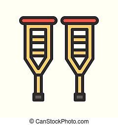 walker sticks, simple filled outline vector icon