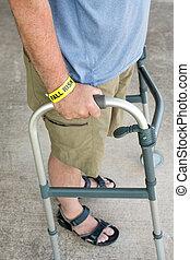 Walker With Fall Risk - A man wearing a fall risk bracelet ...