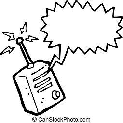 walkie, caricatura, talkie