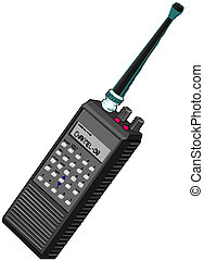 walkie, radio, draagbaar, talkie, of
