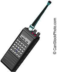 walkie, radio, portátil, talkie, o