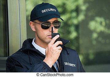 walkie-talkie, hablar, guardia, seguridad, joven