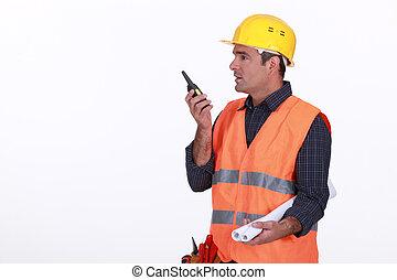 walkie-talkie, lavoratore, parlante