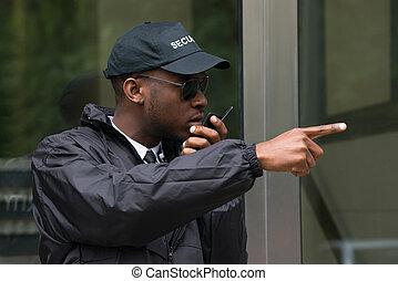 walkie-talkie, macho, hablar, guardia, seguridad