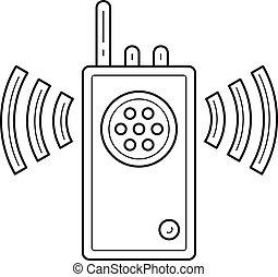 Walkie talkie vector line icon.