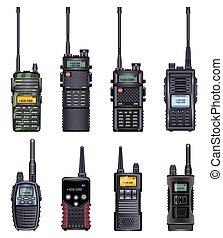 Walkie talkie vector realistic icon. Isolated realistic set icon radio walky .Vector illustration walkie talkie on white background .