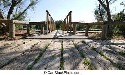 Walking Across the Wooden Bridg - Low angle view walking...