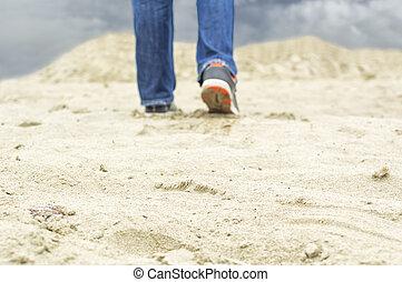 Walking alone in the desert