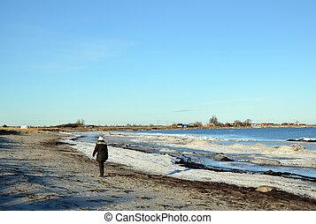 Walking along the coast