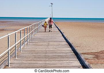 walking along the jetty