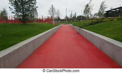Walking along the red road