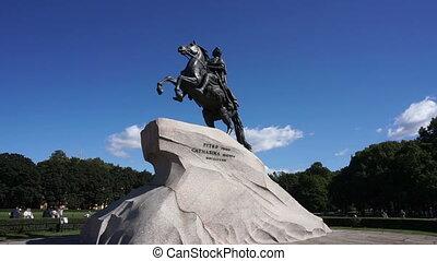 walking around Peter I famous statue in St. Petersburg...