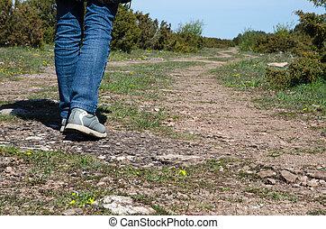 Walking at a winding footpath