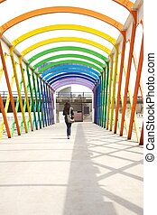 walking at colorful footbridge - colorful footbridge in...