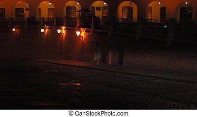 Walking at Night on Medieval Town