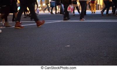 walking at shopping street evening