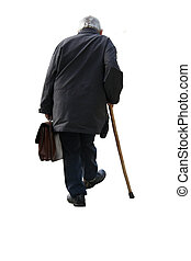 Old man holding a suitcase walking away - on white background (isolated)