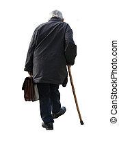 Walking away - Old man holding a suitcase walking away - on...