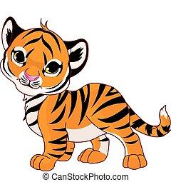 Image of walking cute baby tiger