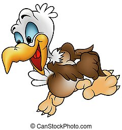 Walking Bald Eagle - colored cartoon illustration