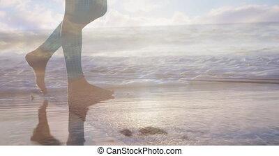Walking barefoot on the beach 4k