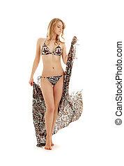 walking bikini girl with sarong