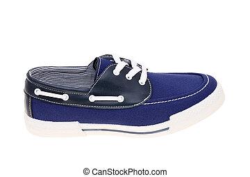 walking blue shoe