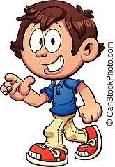Walking boy - Cartoon boy walking and pointing. Vector clip...
