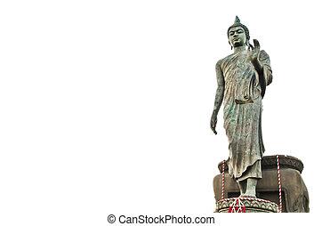 Walking Buddha against white background
