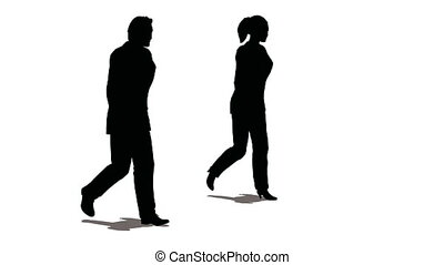 walking business couple looping