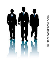 Walking - Businessmen are walking forward.