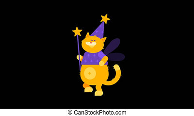 Walking Cat Magician Holds Magic Wand. Character Animation....