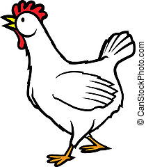 Walking Chicken - A cartoon chicken walking. Vector file.