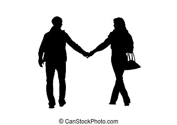 walking couple silhouette with clipping path
