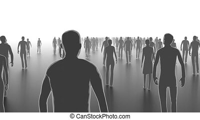 Walking crowd front view - Business concept