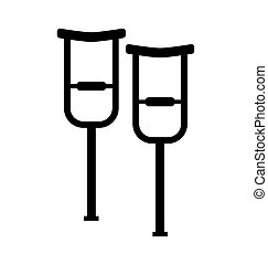 Walking crutches symbol