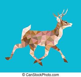 Walking deer low polygon